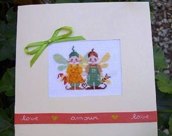 """Hand embroidered card: Duo of Elves and their """"softies"""""""