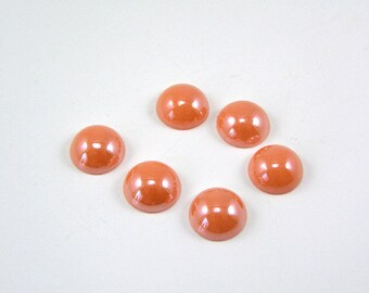 Cabochon glass Pearl round 12 mm salmon color set of 6