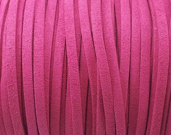 1 meter wide 5 mm Fuchsia suede cord
