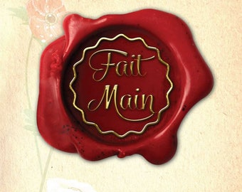 Board of 40 stickers hand made red gold 35 mm