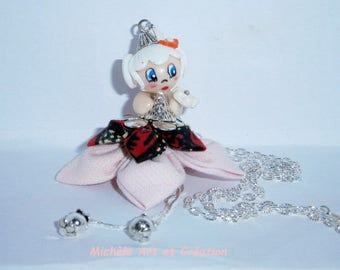 Miss Choupette in pink and white polymer clay