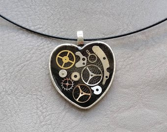 Choker + Heart, steampunk watch parts and resin pendant