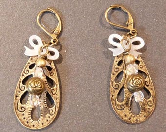 romantic earring drop bow and pearls