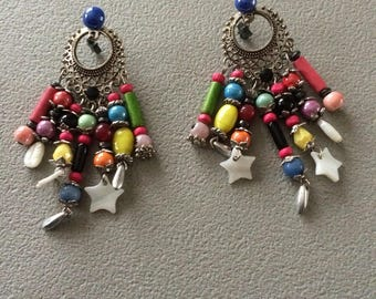 fancy earrings made of many colored beads