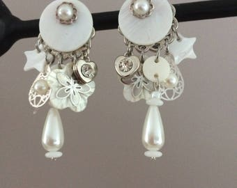sequin Pearl, Pearl drop clip earrings White Pearl and mini prints