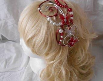 LYLA red & Pearl headband