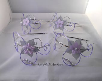 Set of 4 m in purple & grey heads bookends