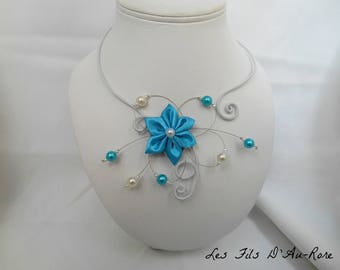 BELLEFLEUR necklace with turquoise bead and wire aluminum white satin flower