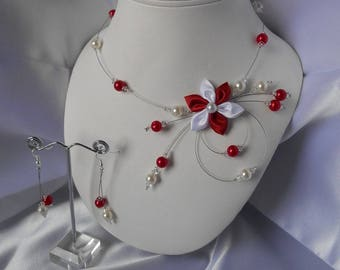 JULIETTE 2 adornment pieces with Swarovski pearls and red and white satin flower