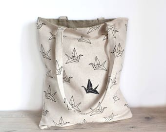 Tote bag printed origami birds
