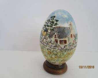 Brittany landscape with scooter painted goose egg