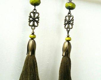 Tassels beads khaki green pumpkin earrings