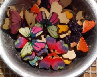 10 mini buttons wooden butterflies printed mix color