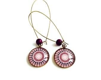 Pink Mandala round long earrings - cabochon-