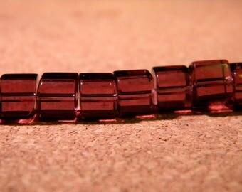 45 glass beads square Crystal 6 mm Purple - 1 PE276 way