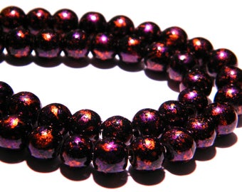 10 bright decorated glass - beads 8 mm - tones purple PG100 1