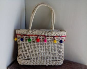 Nice basket straw and tassels Bohemian