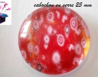 1 cabochon clear 25 mm round Chinese motif theme