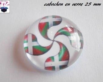 1 cabochon clear 25 mm basque flag