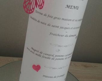 5 menu candle with glitter hearts and butterflies