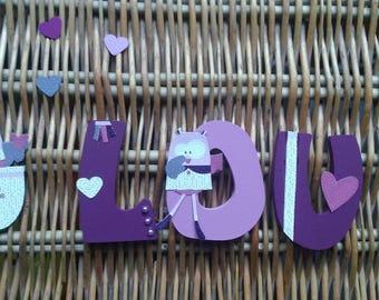 """Personalized children door wooden plaque """"OWL Miss Boo"""""""