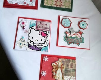 Pack of 5 - 4 x 4 Christmas cards