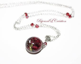 Resin bubble pendant necklace with rose and stainless steel chain