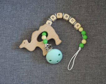 Pacifier clip personalized wood and silicone, green, yellow and grey pattern Arthur