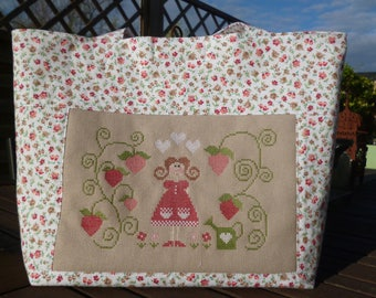 """strawberry picking""""embroidered on this lovely tote bag hand"""