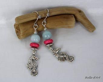 Sky blue agate and seahorse earrings