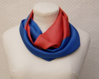 Scarf, red orange and blue hand painted silk pongee