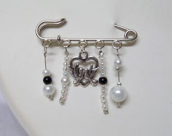 PIN back train wedding bridal black and white beads