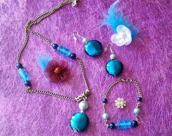 set necklace earrings bracelet blue