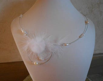 white wedding necklace or ceremonial water fresh pearls and Crystal