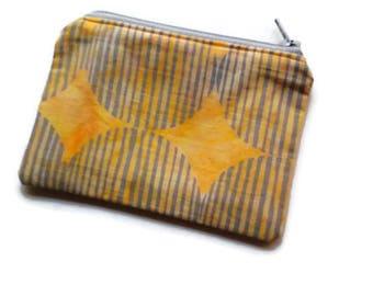 Yellow and Gray Batik Coin Purse, Cards Holder, Small Toiletries Bag