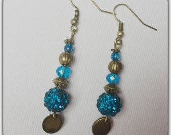 Earrings glass beads and Rhinestones, turquoise and bronze