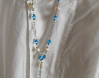 Cat eye beads turquoise chain necklace
