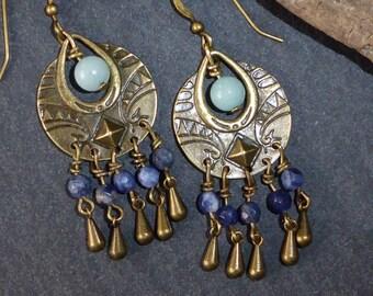 Earrings ethnic style Tibetan stone, bronze, blue and green