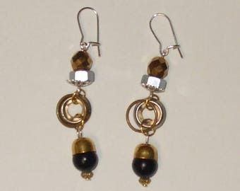 """Earrings Steampunk """"Les time modern Chaplin"""" nuts, washers, rings, beads, black, gold, Bronze, silver"""