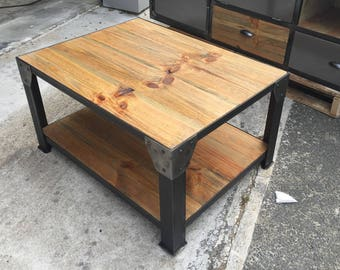 Industrial furniture table coffee steel and solid pine