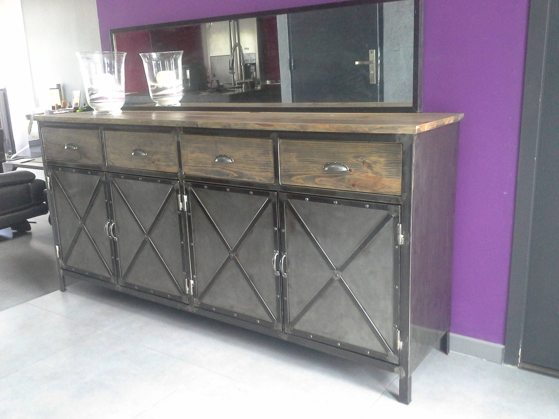 meuble industriel buffet 4 portes acier plateau en pin massif. Black Bedroom Furniture Sets. Home Design Ideas
