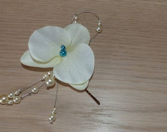 Wedding accessories, wedding fascinator clip, white pearls, turquoise jewelry, cheap