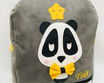 Panda - suede and faux leather backpack, gray, yellow and black