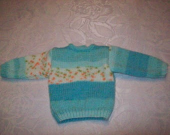 50 cm doll clothing fit kidz'cats boy or girl: (turquoise blue color) hand knit sweater