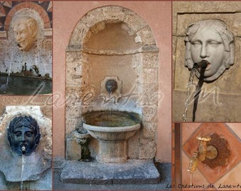 Pele 30X40cm picture blends stone fountains in Barjols var