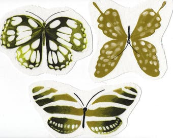 Set of 3 large appliqué sewing textile with green butterflies