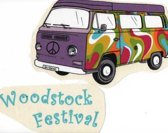 We go on vacation! Image sewing combi WV with inscription WoodStock Festival