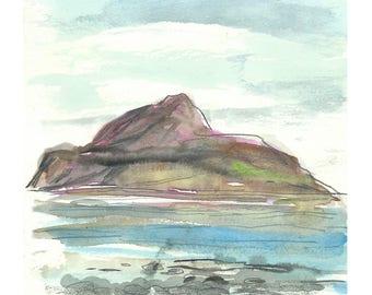 Holy Isle, Arran, Scotland Watercolour Painting