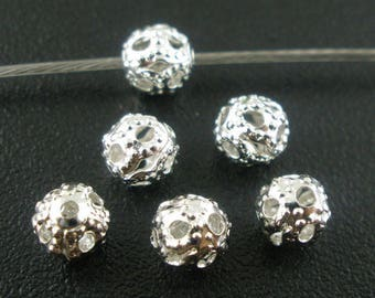 5 beads spacer spacer frosted silver 4mm dia.