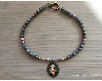 Labradorite and rhodonite Frida Kahlo necklace